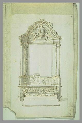 Projet de mausolée avec buste dans un médaillon flanqué de deux angelots