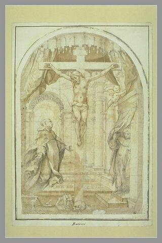 Saint Thomas d'Aquin en lévitation adorant le Christ sur la Croix