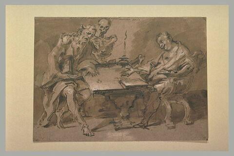 Héraclès et Démocrite, avec la Mort, assis de part et d'autre
