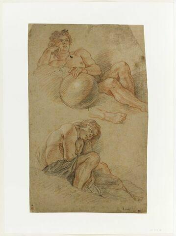 Figure allongée tenant une sphère ; figure assise croisant les bras