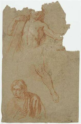 Homme nu tenant une croix : le Christ (?) ; buste de personnage drapé