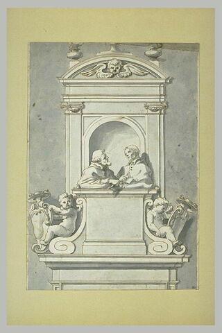 Monument sculpté avec deux figures dans une niche