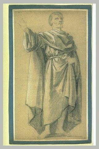 Homme drapé, debout, étendant le bras droit