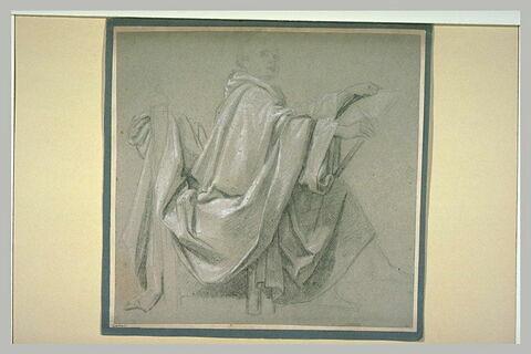 Homme drapé, assis, tenant une tablette, de profil vers la droite