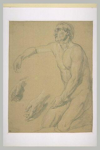Homme nu, agenouillé, de trois quarts à gauche ; deux reprises de ses mains