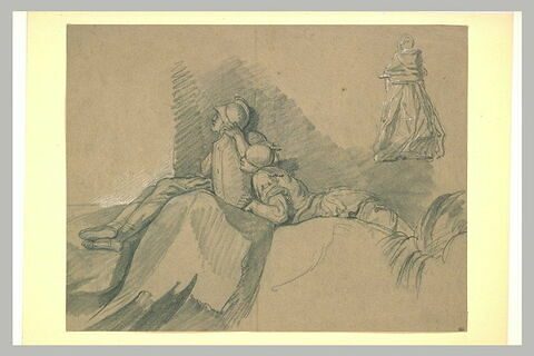 Deux soldats armés à l'antique, et femme debout