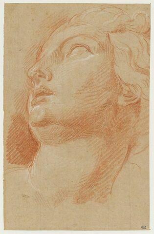 Tête de femme, regardant vers la gauche, les yeux levés vers le ciel
