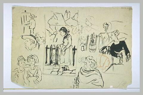 Diverses silhouettes de Bretons et Bretonnes