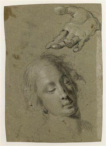 Main droite ouverte, paume vers le haut, tendue, et tête de femme