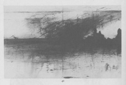 Pluie d'orage : trainées d'encre brune sur papier gris-bleu