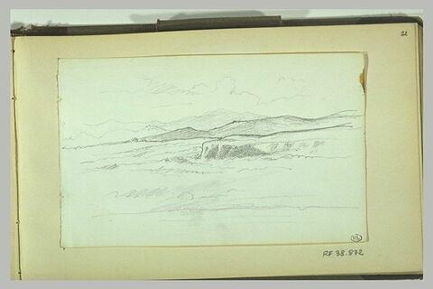 Paysage de champ dénudé avec collines dans le fond