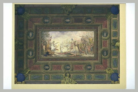 Projet pour un plafond avec scène centrale, à sujet allégorique