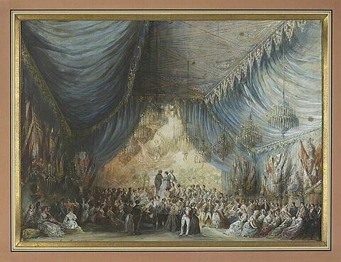 Fête dans un palais : salle richement décorée