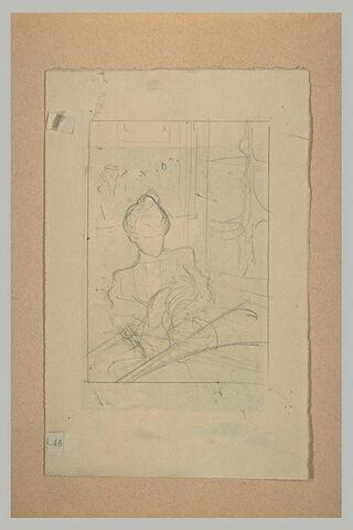 Portrait de femme, assise, à mi-corps, dans un inférieur