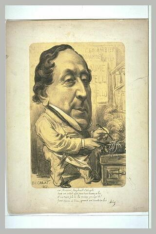 Portrait-charge de Rossini, avec une tête énorme sur un petit corps