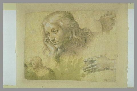 Buste d'homme appuyé sur une main, reprise de la même figure, et mains