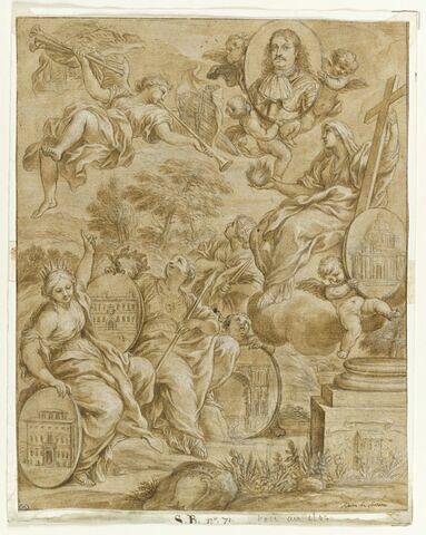 La Foi, la Renommée et deux vertus avec le portrait de Ranuccio II Farnèse