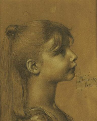Tête de jeune fille, de profil à droite, les cheveux serrés
