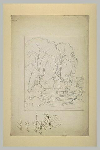 Croquis d'un paysage dans le style 'classique' avec deux personnages