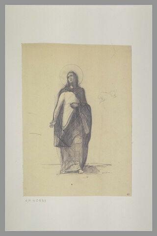 Christ debout, vu de face, et silhouette de cheval