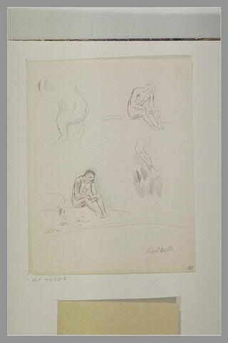 Deux croquis d'un homme nu assis ; croupe d'un cheval cabré ; jambe