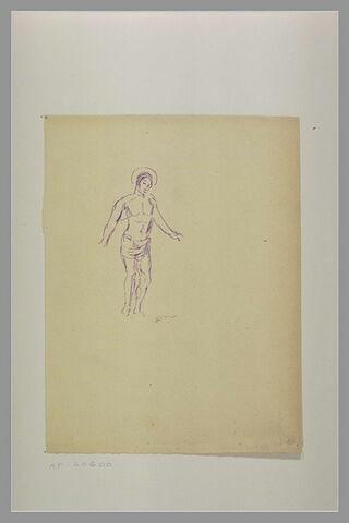 Saint Sébastien debout, tourné vers la droite, les bras écartés