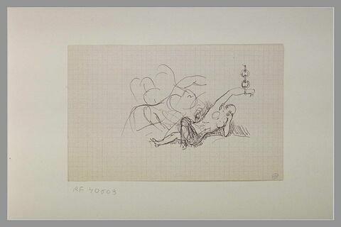 Femme nue, étendue sur le dos, enchaînée par la main gauche