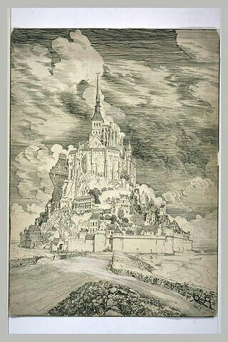 Le Mont Saint-Michel vu de la digue à travers les sables