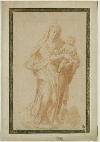 La Vierge debout, tenant l'Enfant Jésus dans les bras