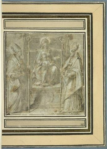 Vierge à l'Enfant, sur un trône, adorés par deux saints évêques
