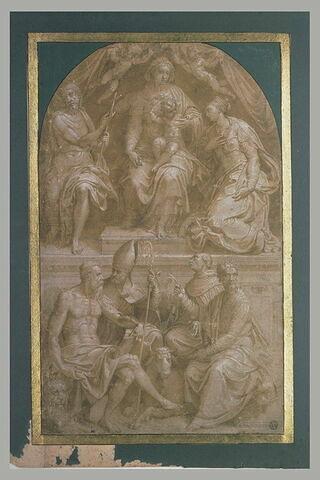 Vierge à l'Enfant sur un trône, entourée de six saints