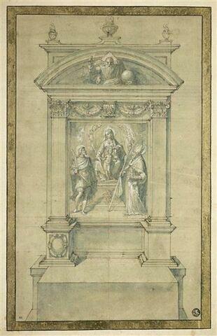 Projet d'autel: la Vierge et l'Enfant adorés par un st martyr et st Petronio