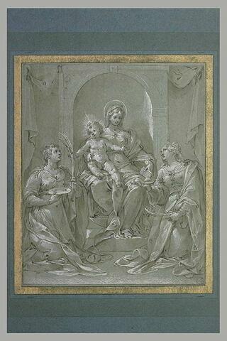 Sainte Lucie et sainte Agathe agenouillées devant la Vierge et l'Enfant