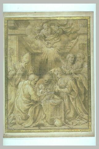 Jésus adoré par Joseph, la Vierge, saint Pierre, saint Paul et un évêque