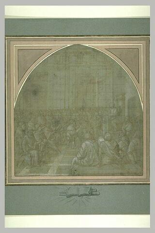 Assemblée d'hommes écoutant un personnage assis