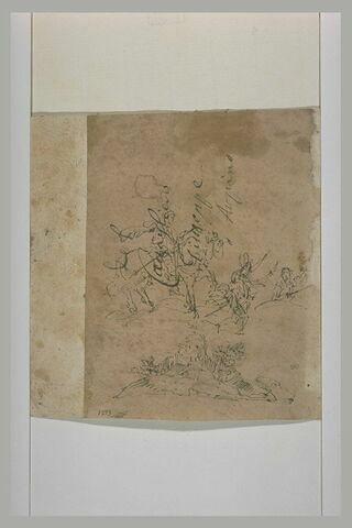 Un cavalier et deux autres figures dans un paysage