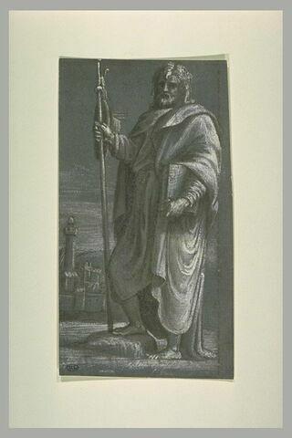 Saint Jacques le Majeur, debout, tenant un livre et un bâton
