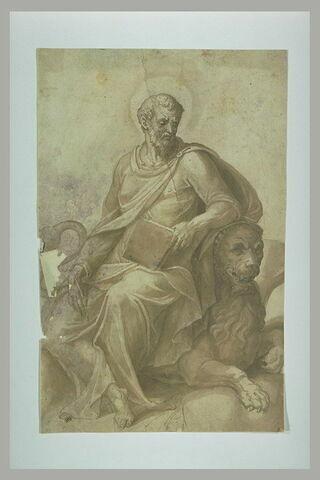 Saint Marc, assis sur un lion, tenant un livre et une plume