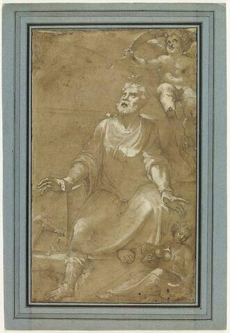 Le préteur Celius et un putto en haut à droite