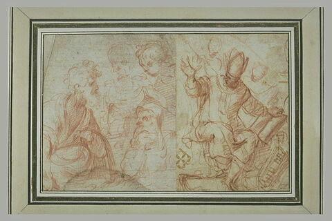 Trois figures près d'un homme ; un évêque assis tenant un livre ; esquisse de deux figures