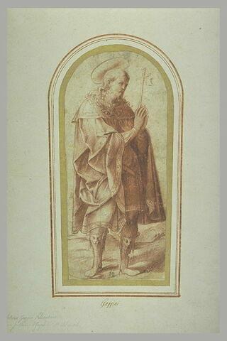 Saint en adoration devant une croix qu'il tient