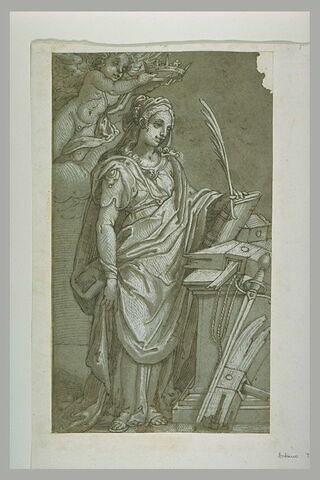 Sainte Catherine de Sienne, tenant un livre, couronnée par un ange