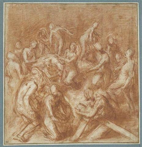Composition avec plusieurs figures dont une portant la croix