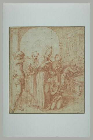 Scène de baptême avec un pape, deux diacres, les saints Sébastien et Julien