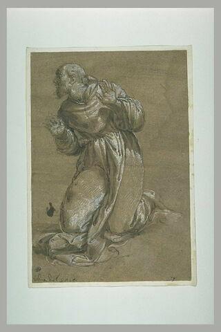 Saint François d'Assise à genoux, paraissant étonné