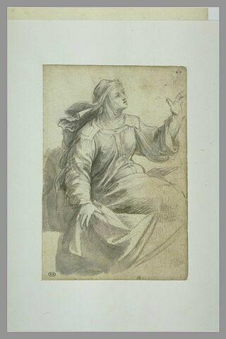 Femme assise, la tête couverte d'un voile : Drusienne