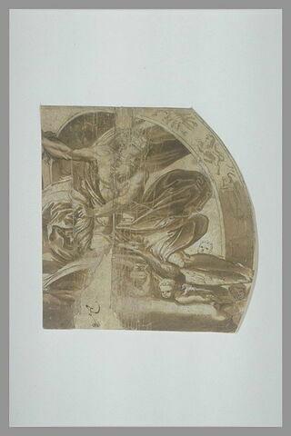 Jupiter à cheval sur un aigle et lançant la foudre