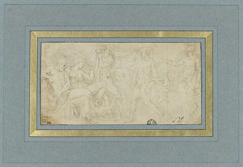 Mercure précédant un sacrificateur, se présentant devant Jupiter, Junon et Neptune