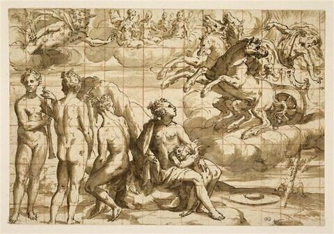 Jupiter sur son char, avec Mercure, les Trois Grâces, Vénus et l'Amour