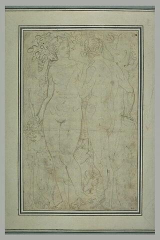 Vénus et Adonis, debout, avec l'Amour